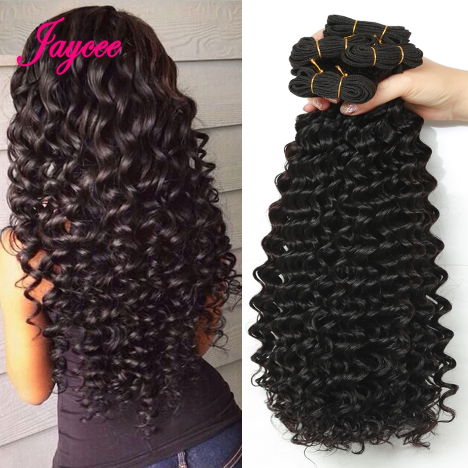 Jaycee ברזילאי עמוק גל שיער 4 חבילות meche bresilienne ללא רמי שיער טבעי הרחבות ברזילאי שיער Weave חבילות