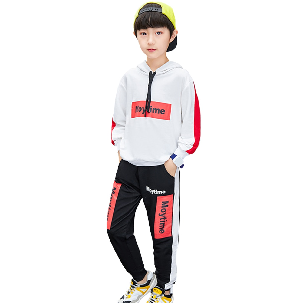 Two-Piece Hooded Pullover and Sweatpants Cotton Tracksuits Boys Long Sleeve Tops Trousers Casual Clothing Suits Autumn Outfits