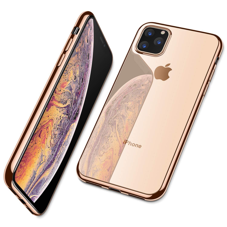 Para o iphone 11 pro max 11 pro caso, ultra fino fino claro macio premium flexível chrome pára-choques transparente tpu capa de placa traseira