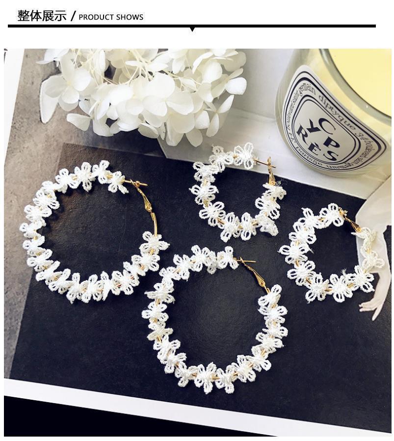 New white flowers lace big circle female earrings Korean personality long earrings modern fashion jewelry