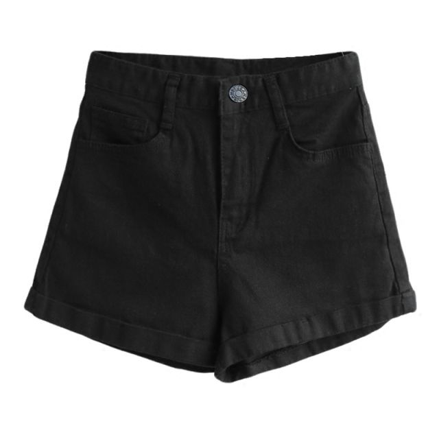 2019 high waist Black Denim Shorts female summer students curl loose thin A-shaped shorts wide leg hot female