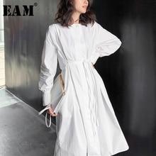 [EAM] Women White Pleated Split Elegant Shirt Dress New Lapel Long Sleeve Loose Fit Fashion Tide Spring Summer 2020 1W527