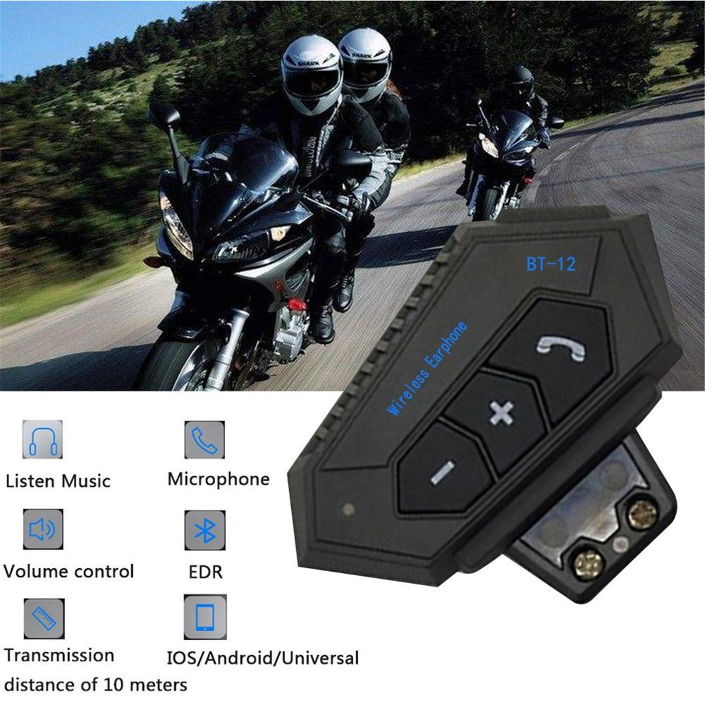 Motorrad Helm Headset Wireless Bluetooth Kopfhörer Lautsprecher Hände-Freies BT-12 Headset Intercom Motorrad Kopfhörer FM