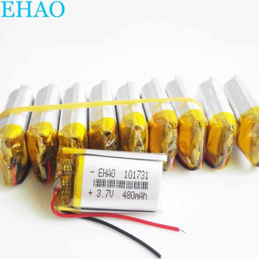 Atacado 10 pces ehao 101731 3.7 v 480 mah células de bateria recarregável lipo polímero lítio para mp3 gps relógio inteligente alto-falante