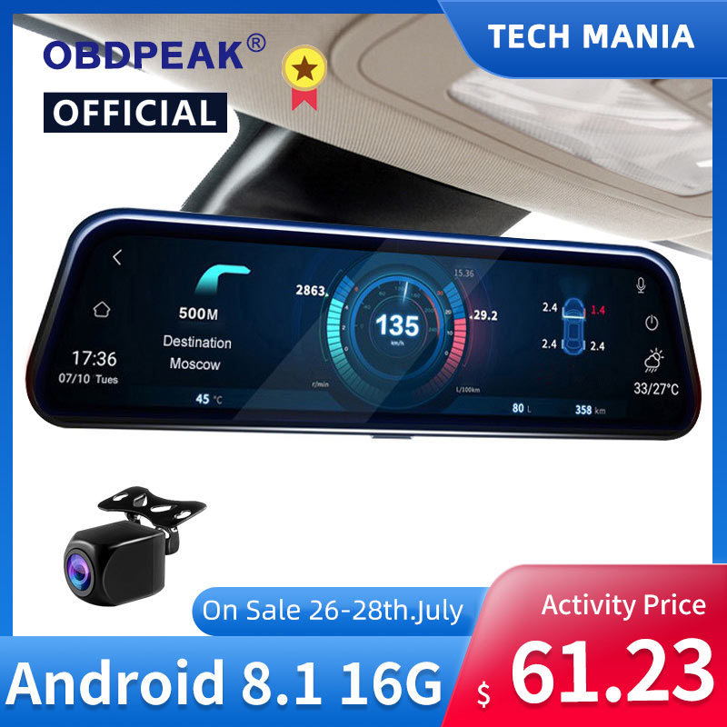 "Promo A980 Smart Rearview Mirror Camera 10"" 4G Android 8.1 Car DVR 1080P Dual Lens Dash Cam Registrar Video Recorder GPS WIFI Mirror"