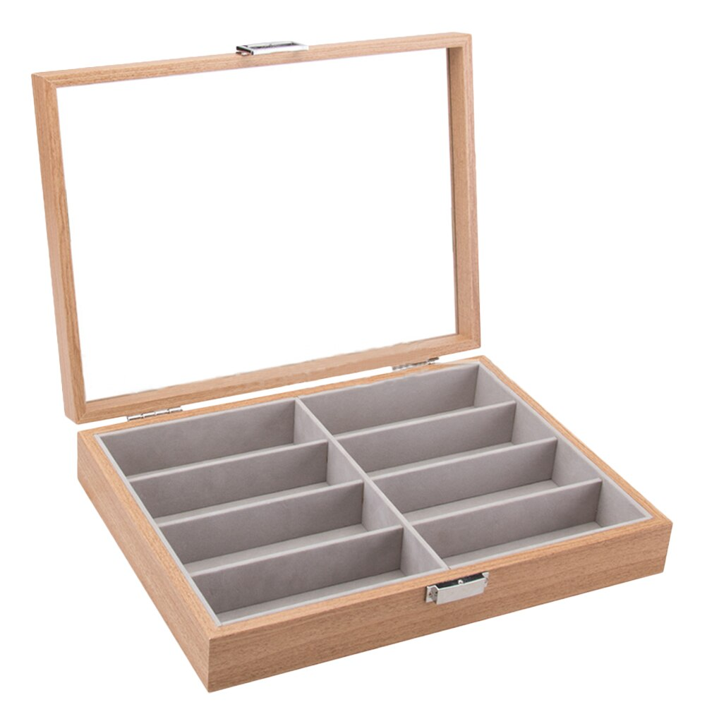 8 Slot Wooden Eyeglass Box Sunglass Storage Container Inner Felt Pad Glasses Display Case Transparent Glass Window
