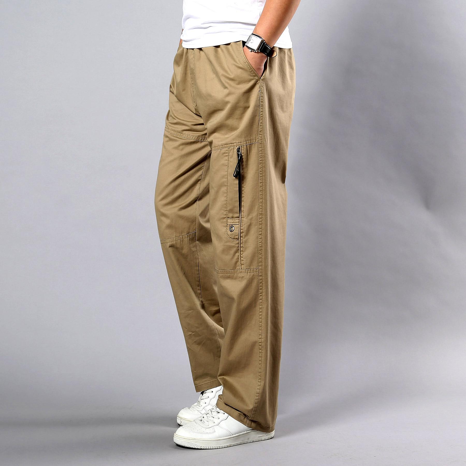 Мужские повседневные брюки, осенняя модель, мужские прямые брюки-карго с боковым карманом, размеры 5Xl, тактические черные хлопковые брюки с ...
