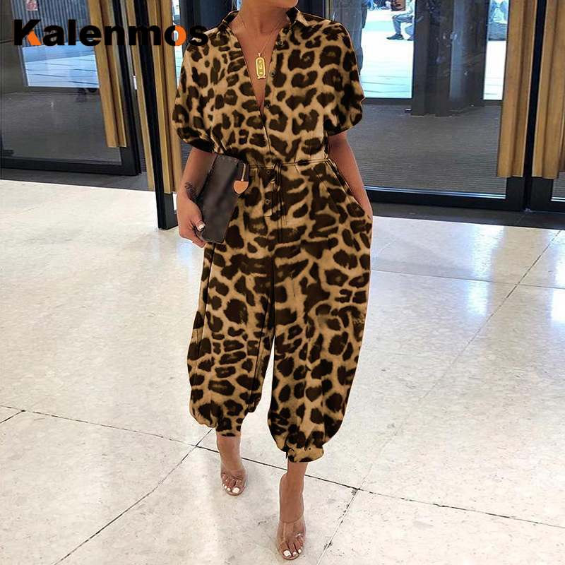 KALENMOS Jumpsuit 2021 Women's Fashion Leopard Jumpsuits Women Overalls Sexy Retro Short Sleeve Loose Cargo Bodysuit Africa Ropa