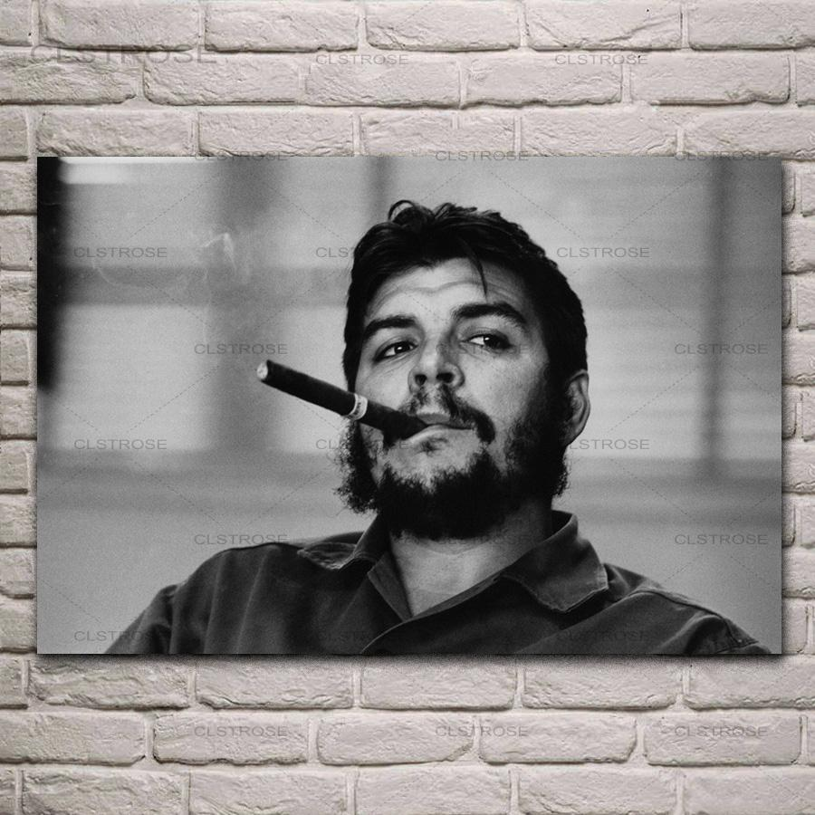 Che Guevara Portret Poster Roken Zwart-wit Canvas Schilderij Op De Muur Woonkamer Kamer Home Decoration Moderne Foto