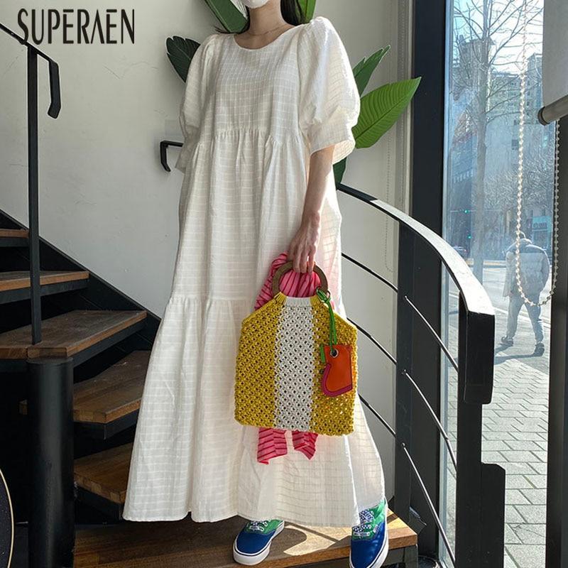 SuperAen Korean Style Long Dress Women Cotton Short Sleeve Fashion Ladies Dress Summer New 2020 Women Clothing