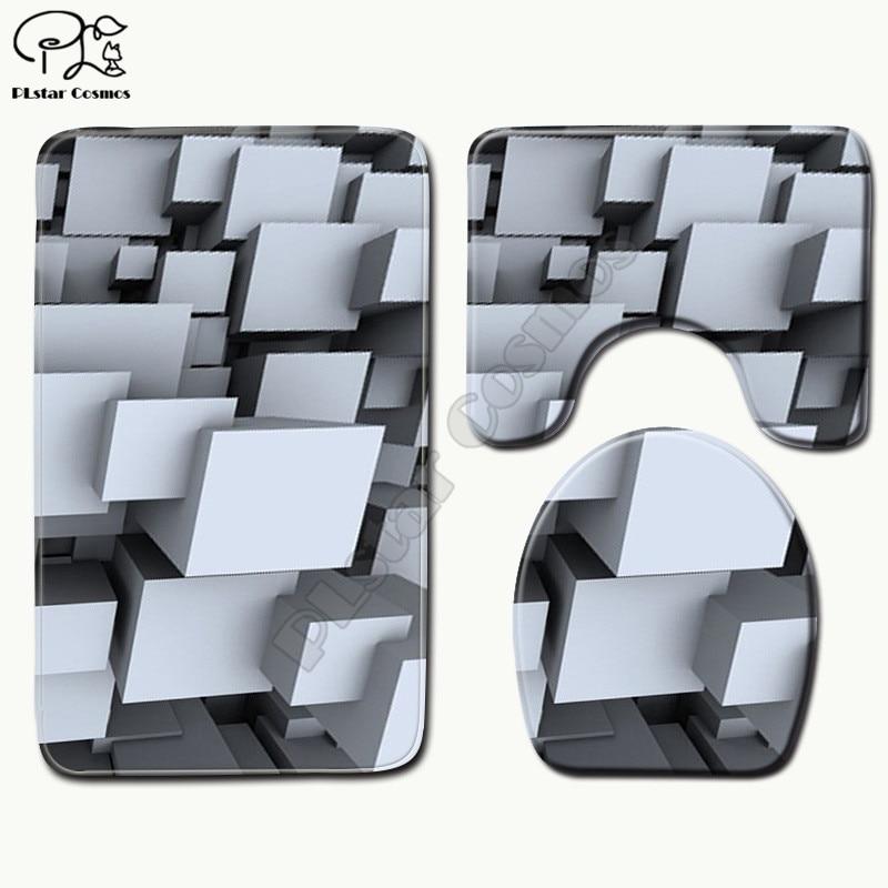 Cartoon lustige Farbe geometrie muster 3D gedruckt Bad Sockel Teppich Deckel Wc Abdeckung Bad Matte Set drop verschiffen