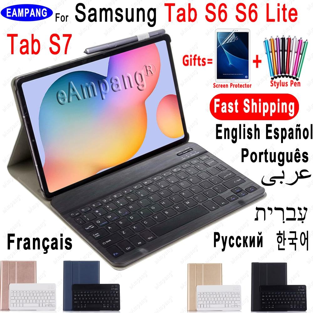 حافظة لهاتف سامسونج جالاكسي تاب S6 لايت 10.4 حافظة لوحة مفاتيح Tab S6 10.5 S7 11 غطاء روسي إسباني إنجليزي كوري عربي