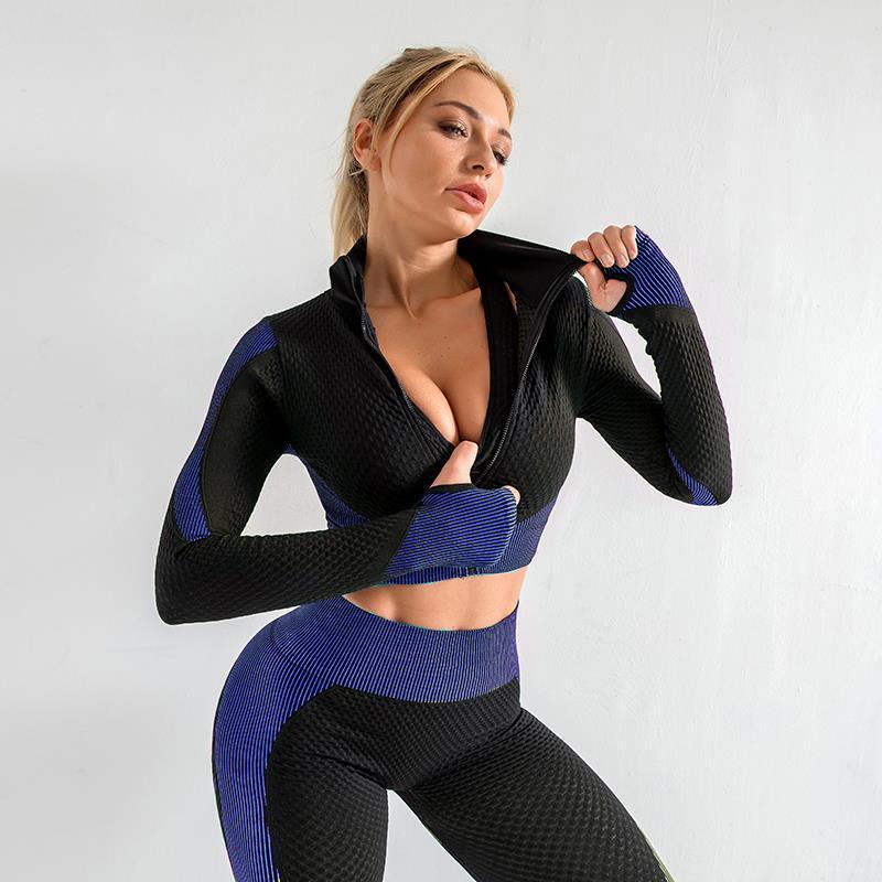 3 PCS Seamless Women's Yoga Suit Fitness Sportswear Workout Wear Fitness Long Sleeve + Bra + Pants Top High Waist Leggings Sport