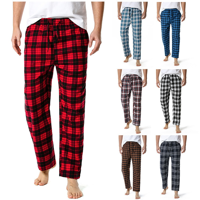Pants Men 2021 Spring and Summer New Mens Plaid Flannel Drawstring Straight Tube Loose Joggers