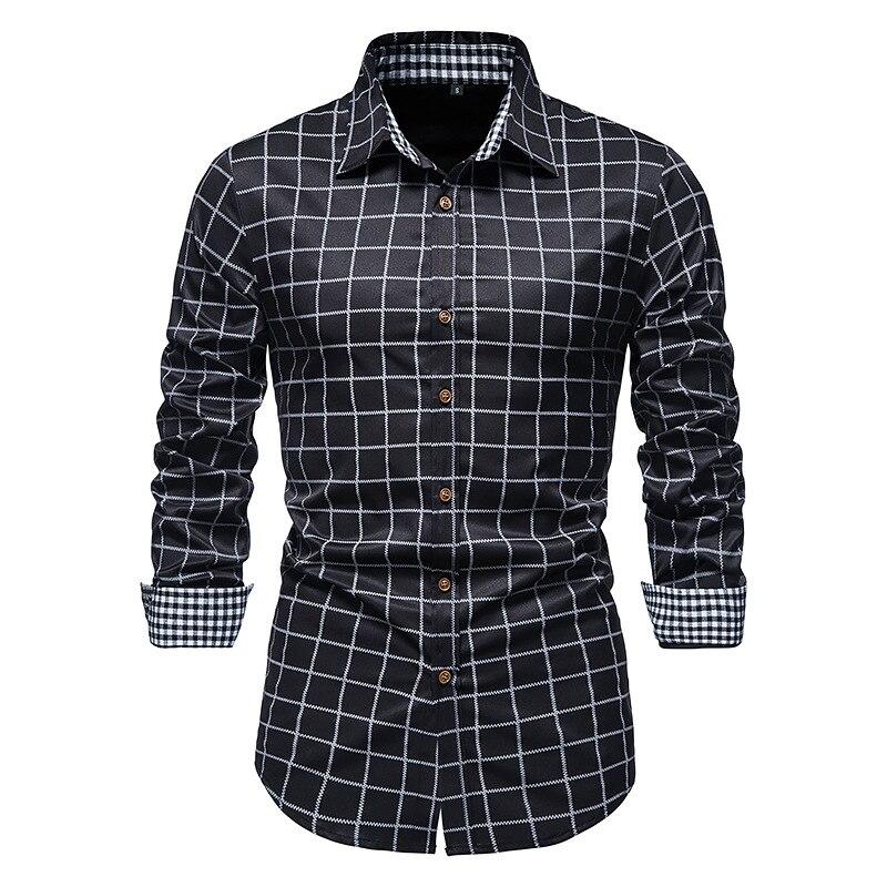 LUCLESAM модная мужская рубашка в белую клетку в полоску, мужская повседневная рубашка с воротником на пуговицах, мужская рубашка