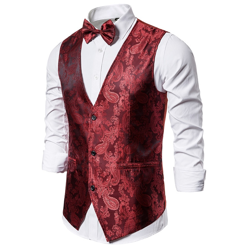 Chaleco Hipster Steampunk para hombre, chaleco de Cachemira roja sin mangas de moda 2020, chaleco para hombre, chaleco de esmoquin para fiesta de graduación y boda Disco