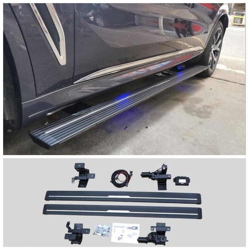 مفتاح كهربائي للمحرك الأوتوماتيكي ، ألواح نيرف ، دواسات شريط جانبي ، لسيارات BMW X5 G05 2019 2020 2021