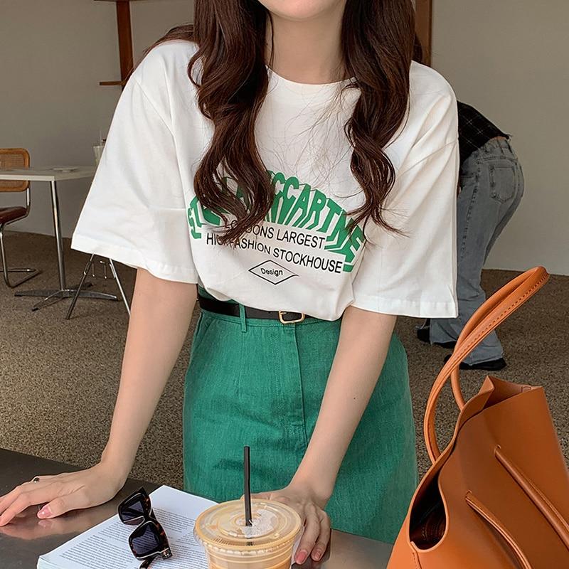 Korean Chic Summer Small Fresh Round Neck Color Contrast Letter Print T-shirt High Waist Split Skirt