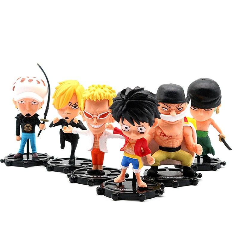 6 pçs/set One Piece Donquixote Doflamingo Figuras de Ação Modelo Trafalgar Law Luffy Sanji Zoro shirahoshi Figura Brinquedos