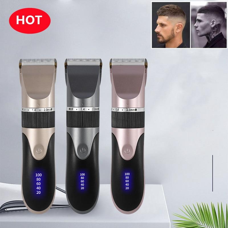 آلة الحلاقة المهنية الشعر المتقلب الرقمية USB قابلة للشحن مقص الشعر للرجال حلاقة السيراميك شفرة الحلاقة مقص الشعر