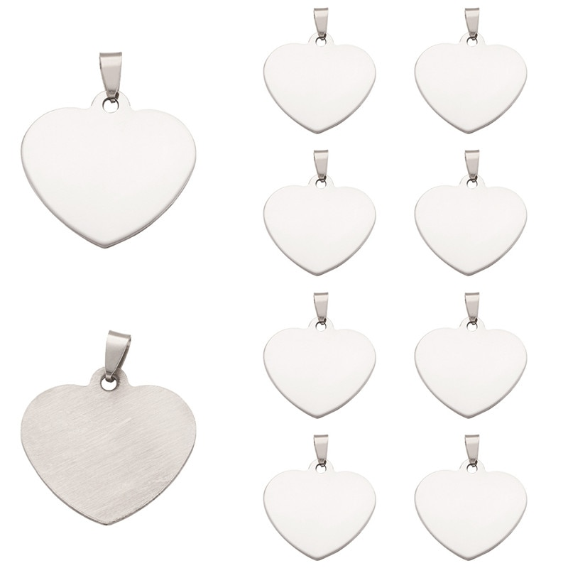 10pcs 201 Stainless Steel Heart Blank Stamping Tag Pendants jewelry making, One Side Polishing,33x34.5x1mm, Hole: 6x4mm F70