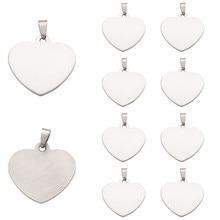 10 pièces 201 Coeur En Acier inoxydable Estampage Blanc Pendentifs Détiquette De fabrication de bijoux, Un Côté De Polissage, 33x34.5x1mm, Trou 6x4mm F70