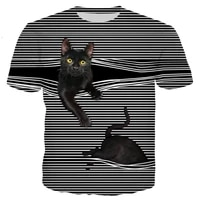 summer mens top drop shipping 2021 new fashion t shirt cute cat stripes pattern 3d print unisex casual cool ceative hot ins