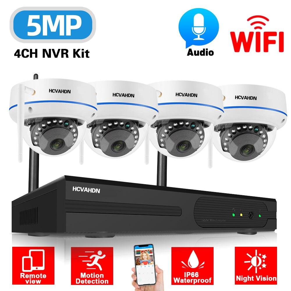 5mp واي فاي IP الأمن كاميرا بشكل قبة عدة 4CH اللاسلكية طقم NVR في الهواء الطلق مقاوم للماء CCTV نظام الكاميرا للمراقبة بالفيديو مجموعة 4 قناة