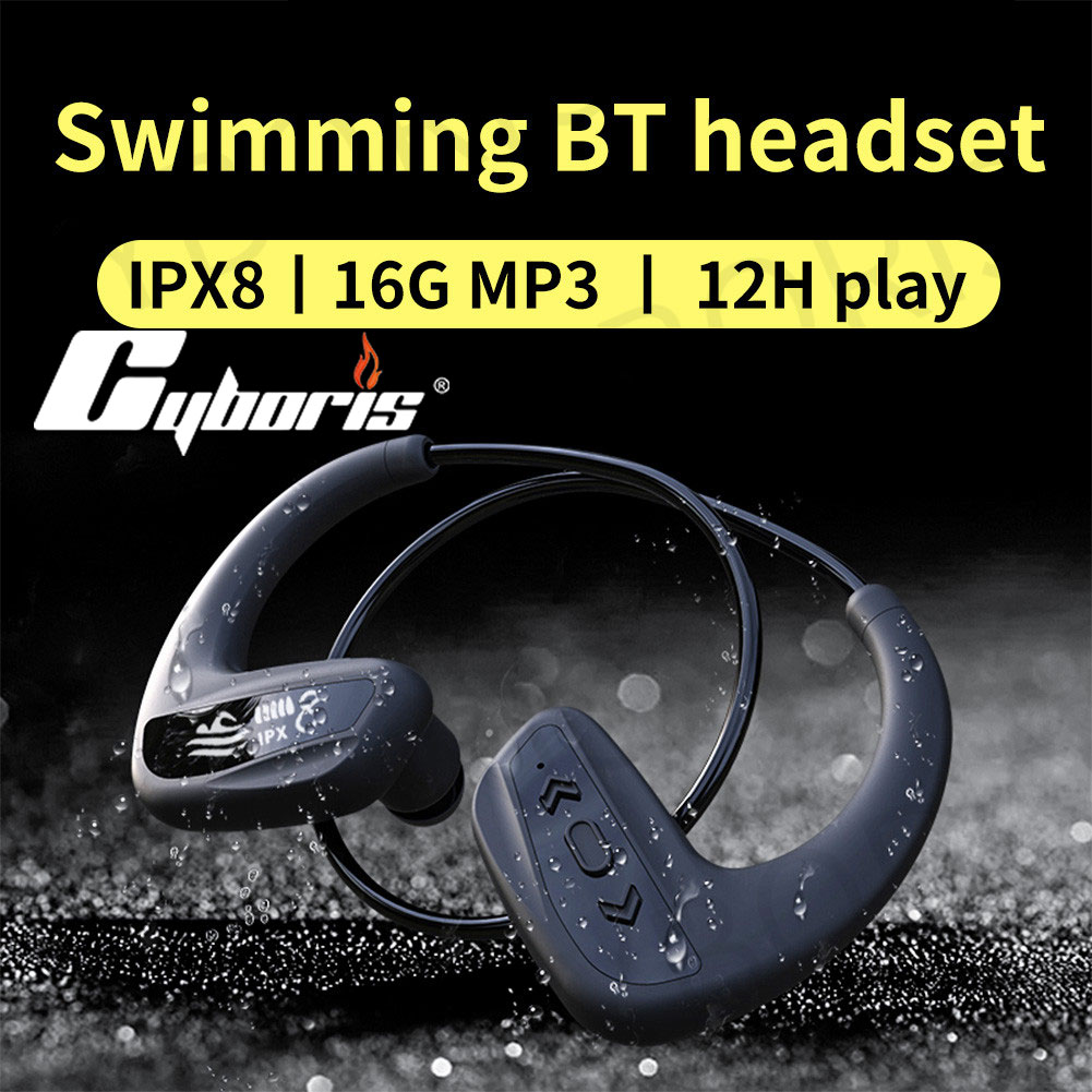 CYBORIS Earphone Wireless Ipx8 Waterproof 16GB Mp3 Player 12Hours Playing Bluetooth Headset Running