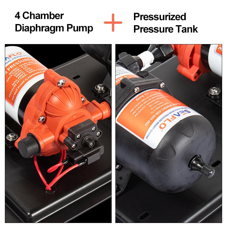 SEAFLO 42 Series Diaphragm Pump 3GPM Water Supply Pressure System Tank Large Flow 24V Self Priming Pump for RV Boat Yacht Stable enlarge