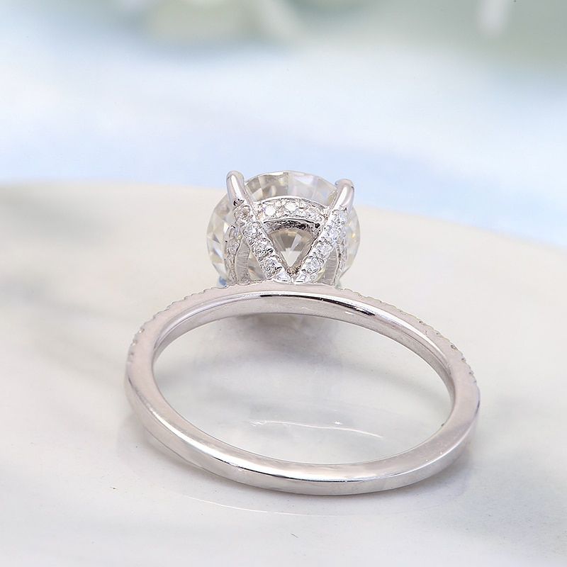 Real Solid 14k White Gold Ring Four Prong 2Ct Round cut Moissanite Diamond Wedding Engagement Rings For Women Fine Jewelry gift