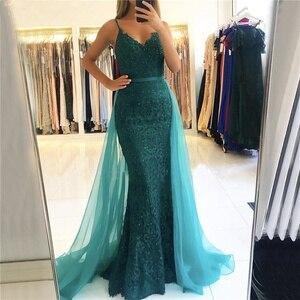 Sexy Mermaid Evening Dress Spaghetti Strap Beaded Evening Dresses Long Detachable Skirt Sashes Formal Dress Evening Gown