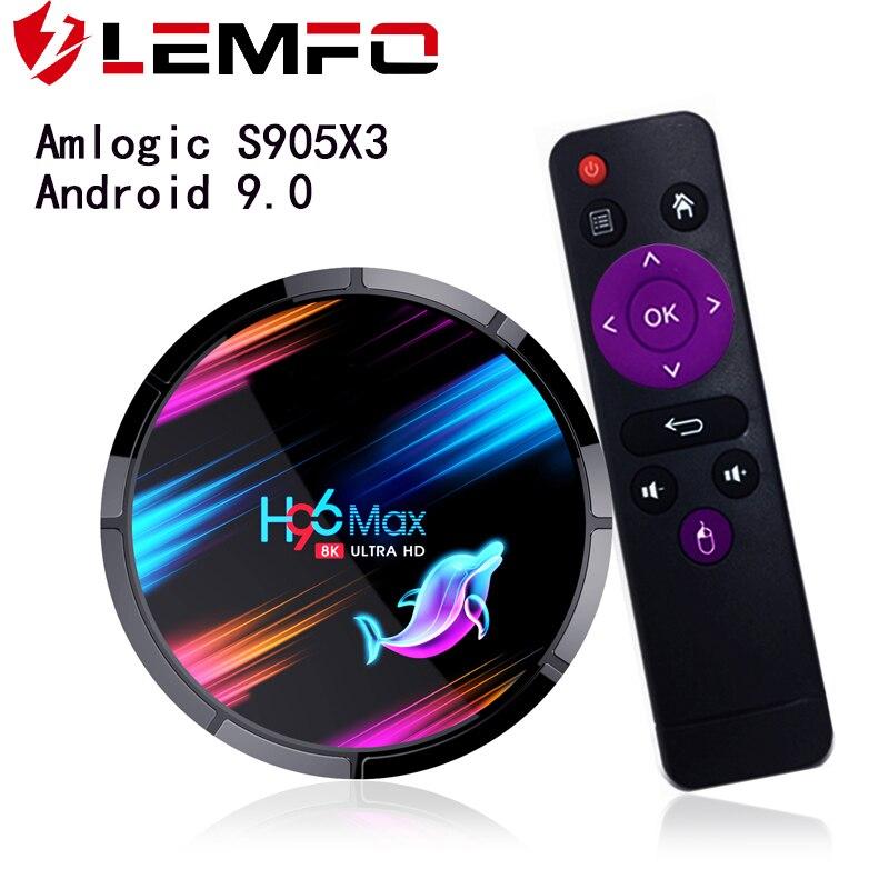LEMFO TV BOX Android 9,0 8K Dispositivo de TV inteligente 4GB 64GB HDMI 2,1 LAN 1000M 2,4G/5G WIFi Google Youtube en línea película S905X3 TV BOX