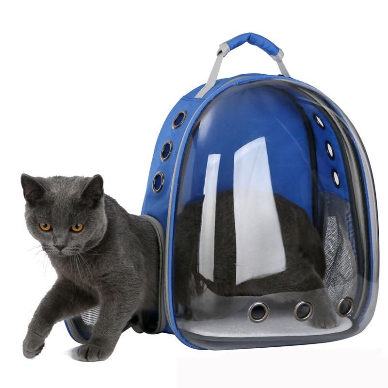 2019 beau respirant Portable sac de transport pour animaux de compagnie en plein air voyage chiot chat sac Transparent espace sac à dos pour animaux de compagnie Capsule