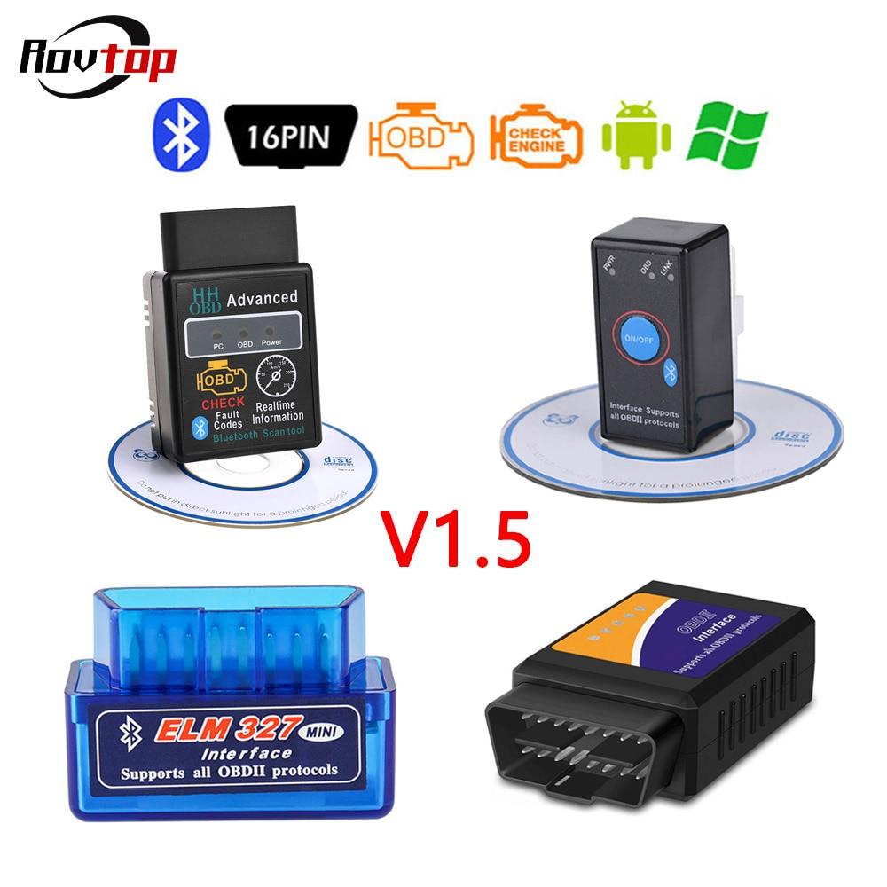 Rovtop ELM327 V1.5 Bluetooth OBD2 OBDII lector de códigos para automóvil herramientas de escaneo ELM 327 herramientas de diagnóstico de coche escáner para Android Symbian Z2