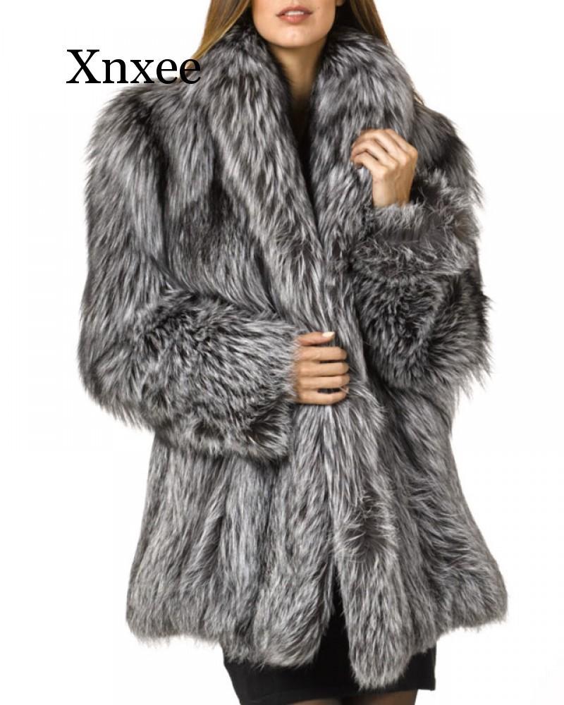 Женское пальто с искусственным мехом больших размеров, вечерние пальто знаменитостей с искусственным лисьим мехом, роскошное теплое длинн...