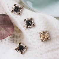5 pcslot rhinestone pearl square plate diamond button jewelry scarf for hair accessories sewing decorative clothing coat