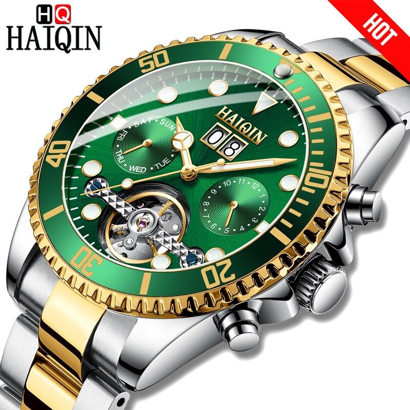Marca de Luxo à Prova Haiqin Novo Relógio Masculino Moda Mecânico Automático Relógios Masculinos Dwaterproof Água Ouro 2021