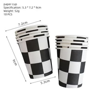 10pcs black white red grid disposable paper cups lattice pattern paper cups disposable tableware birthday party decorations set