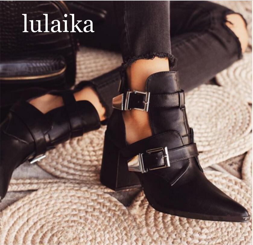 Nuevas botas de otoño 2020, botines recortados para mujer, zapatos de tacones medios cuadrados con punta estrecha para mujer, botas con hebilla, sandalias de 7 Cm, tamaño 35-42