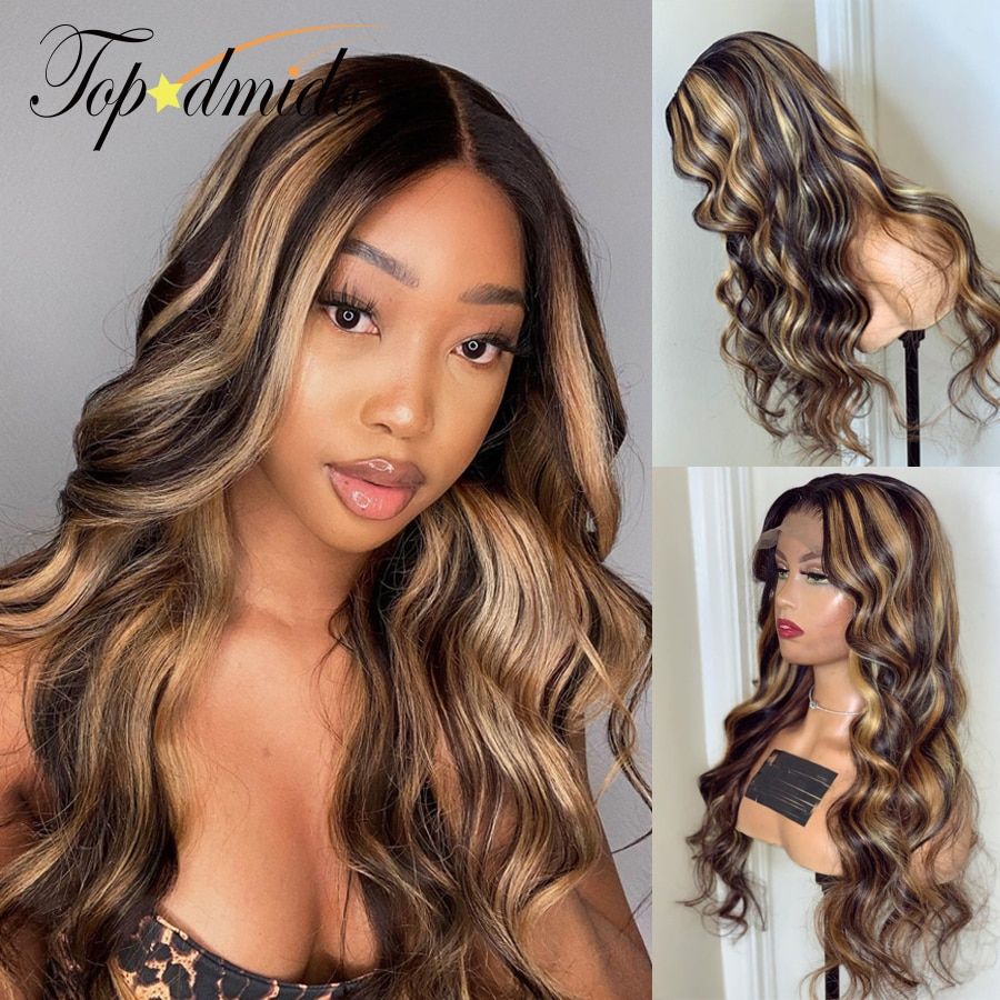 Highlight Blonde Color 13x4 Lace Front Wigs Pre Plucked Human Hair Transparent Lace Wigs Body Wave Remy Hair 4x4 Closure Wigs