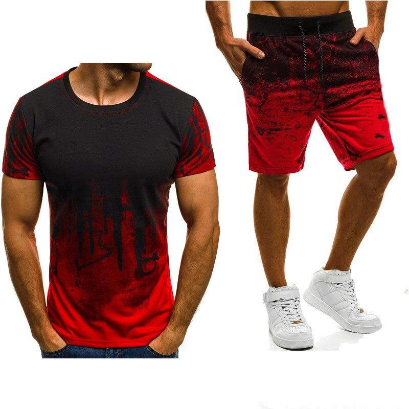New 2020 Summer Mens short sleeve Gradient Casual Fashion Simple atmosphere Cotton Crew neck T-Shirt+Pants Suit 2Pcs A