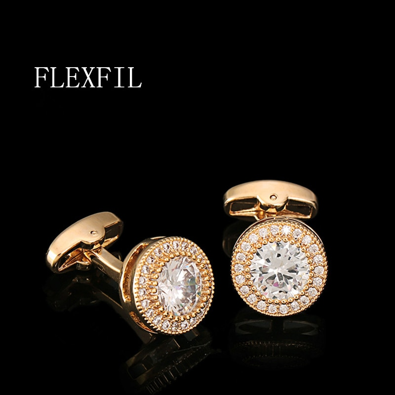 FLEXFIL Luxury shirt cufflinks for men's Brand cuff buttons cuff links gemelos High Quality crystal wedding abotoaduras Jewelry