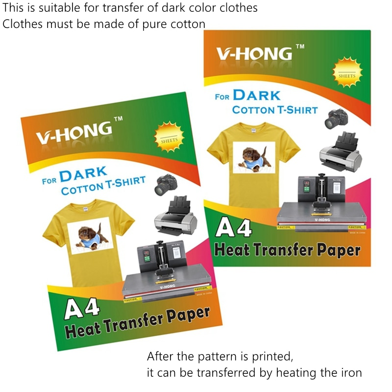 Сублимационная футболка, черная одежда, горячее тиснение, печать торговой марки, чистый хлопок, 8,26x11,7, теплопередающая бумага для темноты