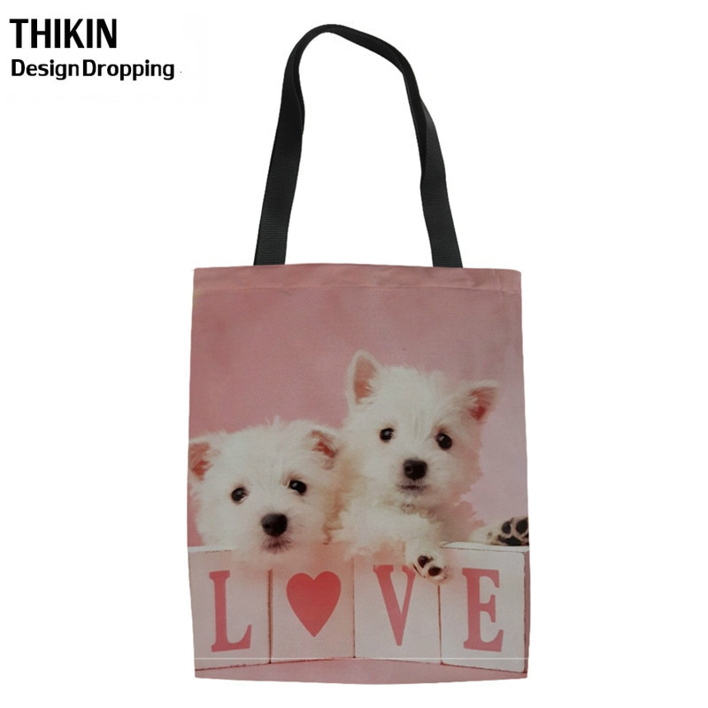 THIKIN lindo West Highland Terrier perro impresión chica bolsas de compras mujeres bolsos de hombro señoras lona Tote Shopper bolsa para reciclar