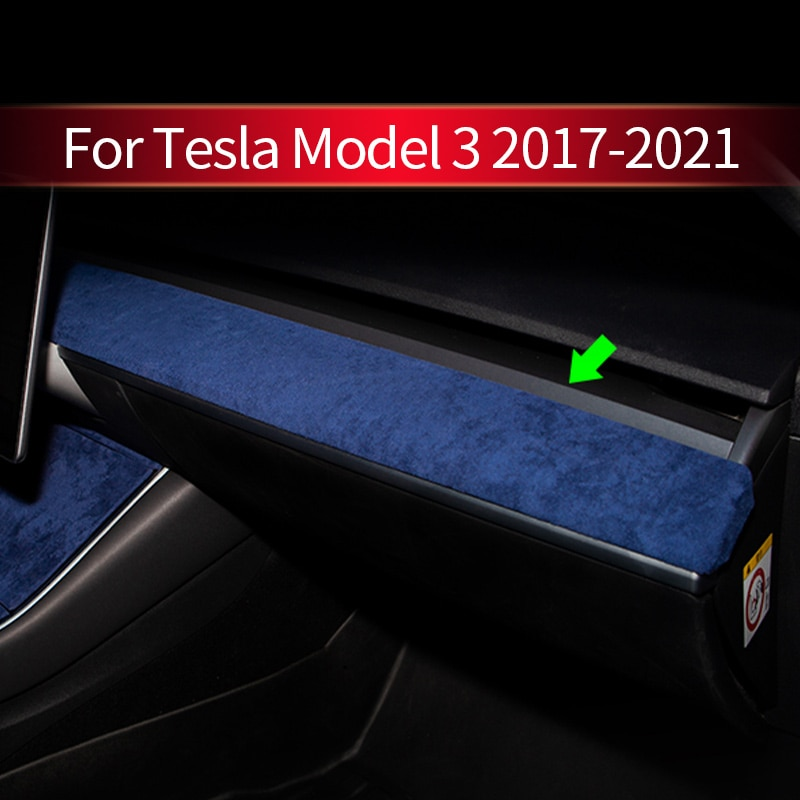 2021 Car Stickers Dashboard Panel Edge Strip Faux Fur Cover Trim For Tesla Model 3 Y Automotive Interior Car Styling Accessories