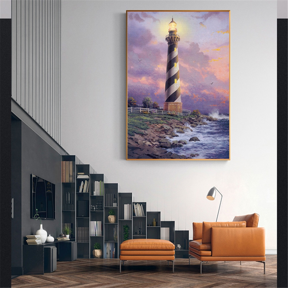 Cuadro en lienzo con diseño de ondas y paisaje de faro costero...