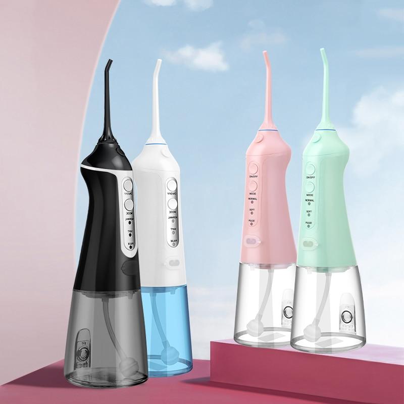 Przenośny irygator doustny USB akumulator Flosser irygator wodny Dental strumień wody pod ciśnieniem 300ML zbiornik na wodę wodoodporny środek do czyszczenia zębów 6 dysz