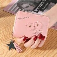 short wallets for ladies zipper coin purses cute flower mini women handbags small soft leather card holder carteras para mujer