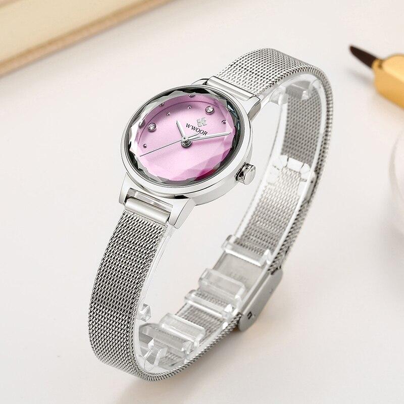 WWOOR Small Women Watches Luxury Brand Fashion Quartz Pink Wristwatch Female Stainless Steel Mesh Watch For Girls Zegarek Damski enlarge